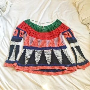 Free People Patterned + Knit Oversized Sweater